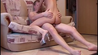 Slutty brunette in hot heel porn