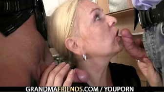 Two co-owners bang hot lady