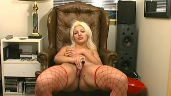 Leather chair and fishnets - Train Wreck