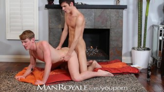 ManRoyale Boyfriends have hot sex by fireplace