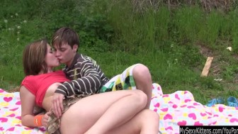 Teen Bella gets pussy fucked and jizzed outdoors
