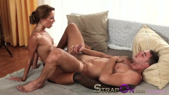 StrapOn Gina Devine fucking a guy in the ass with strapon cock