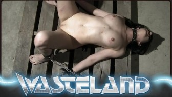 Bound and blindfolded sub girl is finger fucked by her master