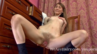 Gela gets hairy in front of her mirror