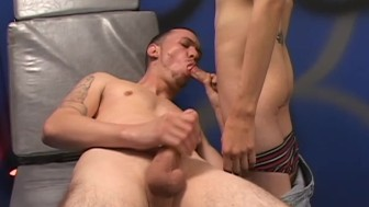 Twink helps him fire out a load - Factory Video