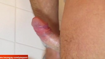 Serviced his huge cock in a shower!