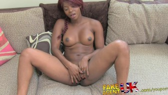 FakeAgentUK Promise of talent show entrance gets hot ebony girls pussy spread