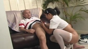 Tiny Oriental gets fingered and give a blowjob