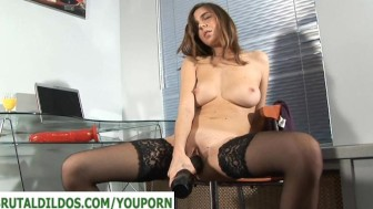 Teen with a huge black brutal dildo