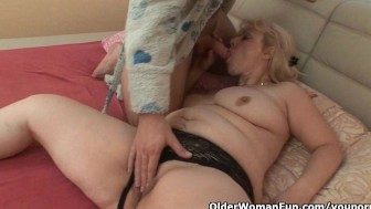 Chubby grannies who love hot cum on their body and face