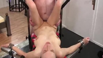 Skinny blond slut takes a massive fisting penetration