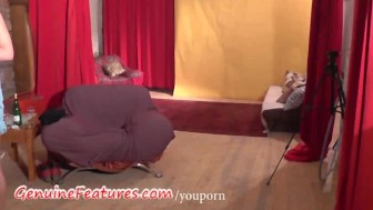 Czech redhead in real backstage clip
