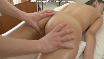 Oriental beauty fucked during massage