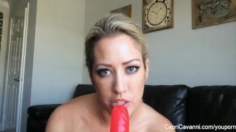 Capri Cavanni plays with her big dildo