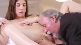 Sexy czech student fucked by her tricky old teacher on the desk