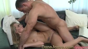 DaneJones Tall shaved blonde enjoys passionate loving on the sofa