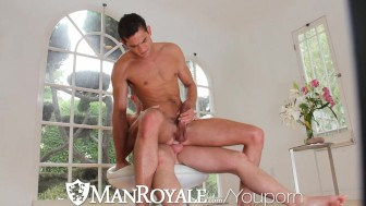 HD - ManRoyale Hardcore yoga session for two big dick hunk