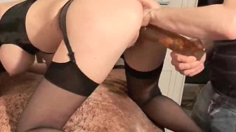 Busty big tit babe double fisted and dildo fucked