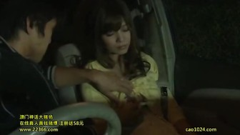 Candid couple having sex in the car