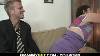 Oldie in black stocking rides his horny cock