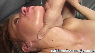 English girl Holly Wellin Eats Ass then gets Cum in Mouth