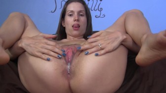 I spread my legs and you fuck and fill me closeup creampie