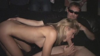 Petite Blonde Meaty Pussy Group Fucked in Porn Theater