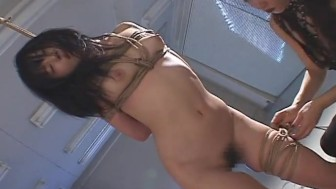 Horny Japanese cutie takes two fat cocks in her holes