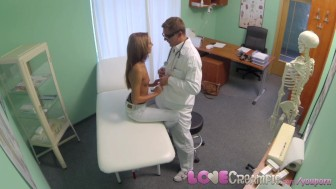 Love Creampie Doctor's patient dripping from the cum shot inside her