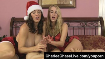 Big Tit Tampa MILF Charlee Chase Gives Santa A Double HJ!