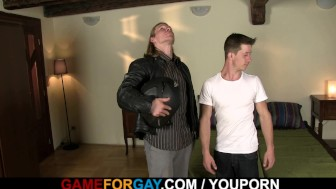 Gay game with hunk biker