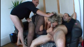 French mature Angela gangbanged