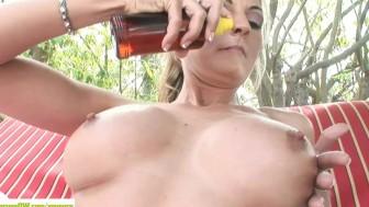MILF Sindy Lange Rubs Pussy Poolside