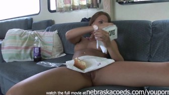 hot teens hanging out naked and eating with perfect pussies