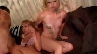 Blonde Teenie hot threesome