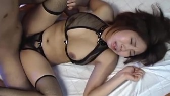 Sexy oriental babe with big boobs riding his cock