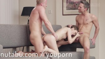 Creampie cutie takes on two cocks