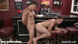 Hefty gays fucking in a bar