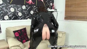British granny Georgie never ceases to amaze you in her catsuit