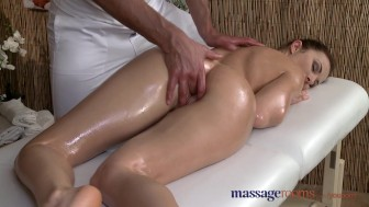 Massage Rooms Horny woman sucks and fucks her big cock stud masseur