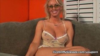 Blonde Cock Sucker Cailey Taylor got Jizz on her Glasses
