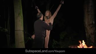 Tiedup slave squirts while Master masturbates her