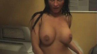 Sex in the tanning saloon ended up with her getting male lotion on her skin