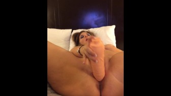 Wet pussy filled with huge dildo