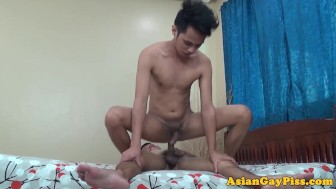 Cumshot loving asian twink gets bareback fucked