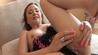 Sexy Asian slut sucks and rides BBC