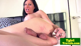 TS Eva Casinni puts ribbed dildo in ass