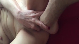 Amateur wife foot fucked in her huge pussy