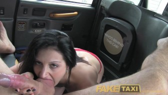 FakeTaxi Brunette exhibitionist loves the camera