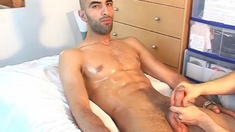 Seduced by arab male with huge cock: Samir str8 guy serviced by a guy !